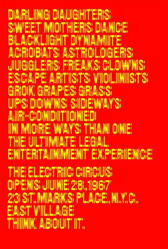 10 Poster for the nightclub The Electric Circus, New York, 1967 - Design Chermayeff and Geismar - Courtesy Ivan Chermayeff and Tom Geismar