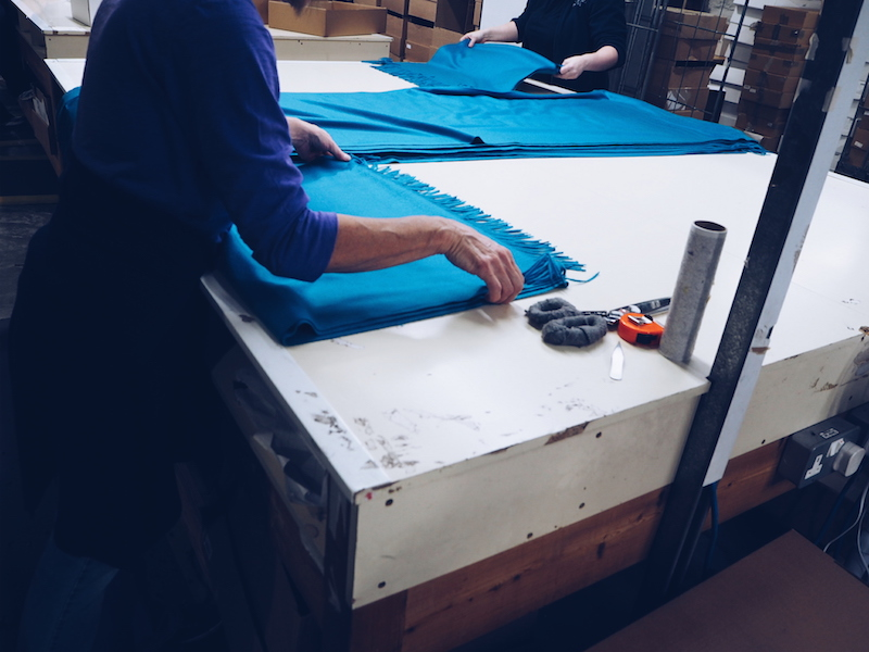 Johnstons of Elgin hand fringed scarves