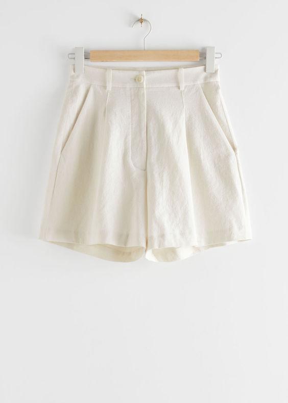 & Other Stories high waist linen blend shorts ss20