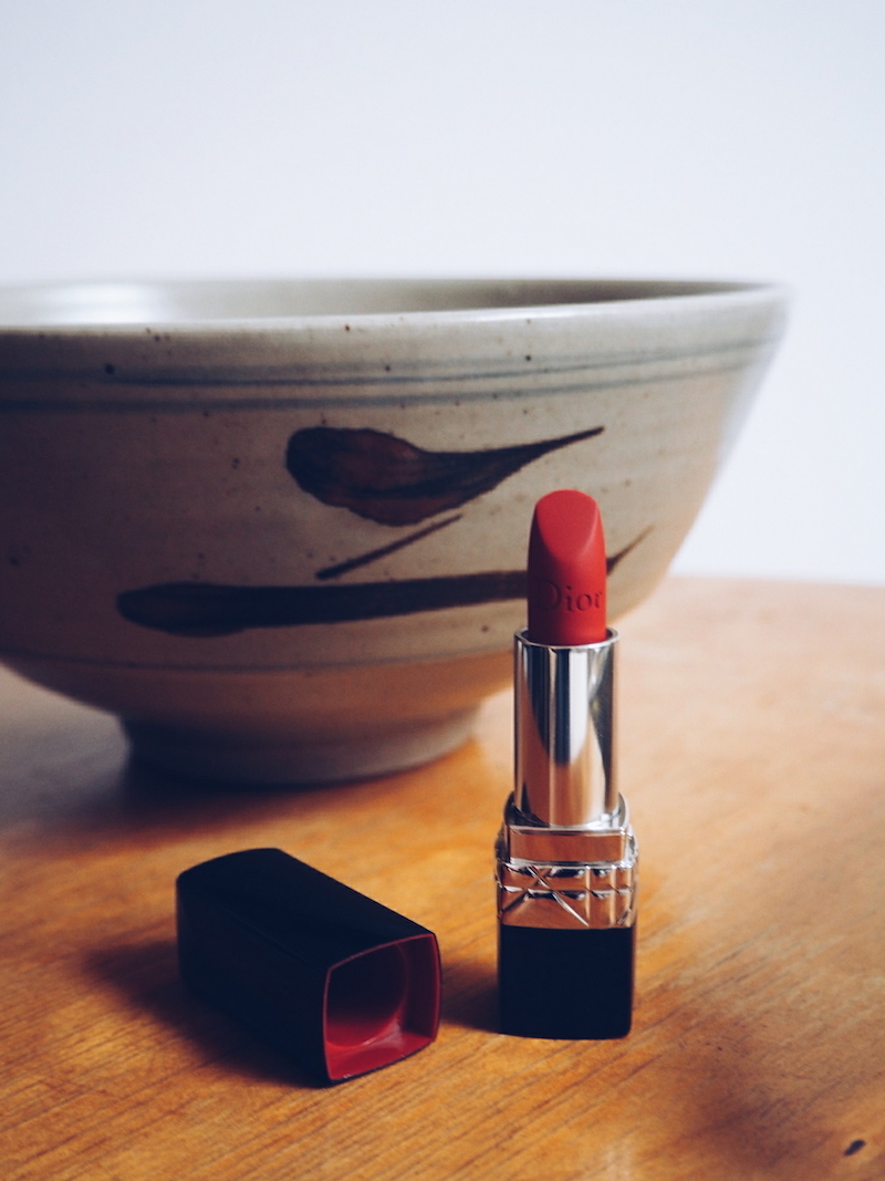 Rouge Dior 999 Matte lipstick with red cap