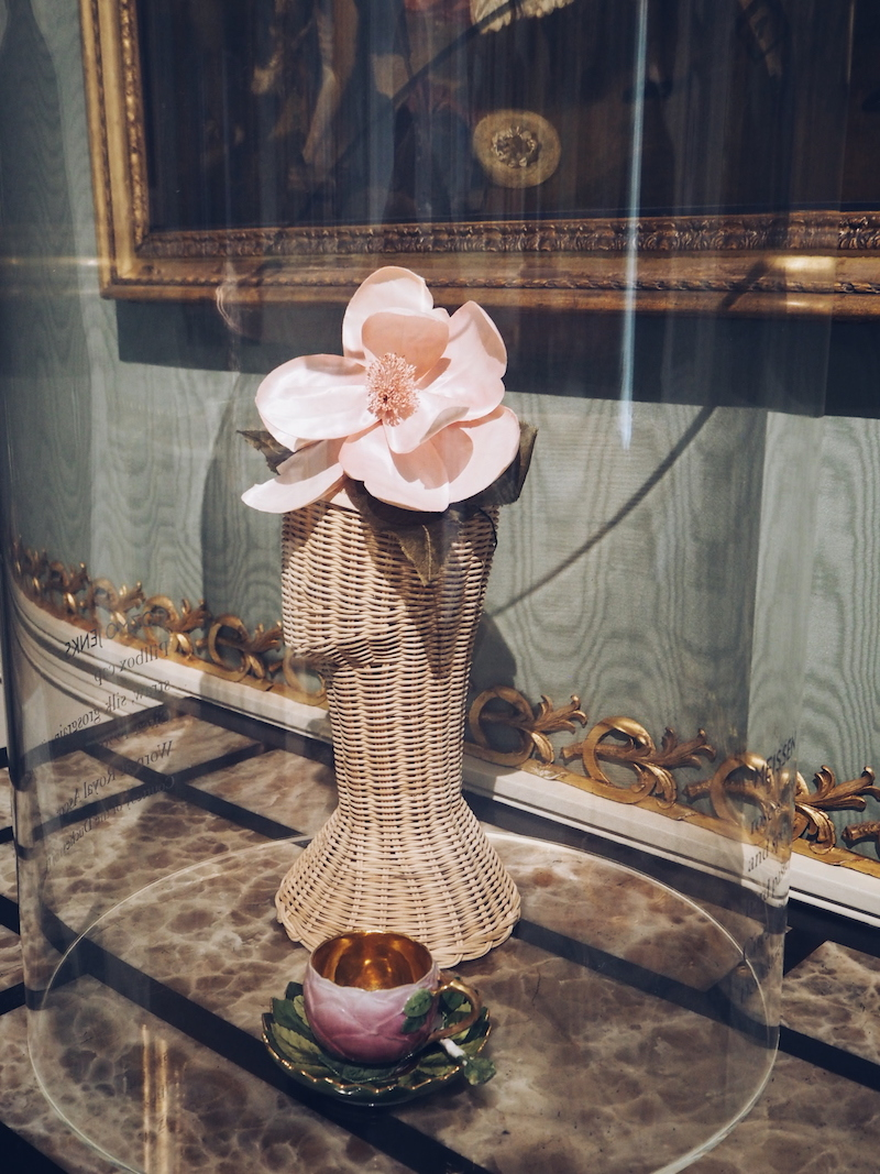 House Style Chatsworth House exhibition including Cosmo Jenks hat and Meissen cup and saucer