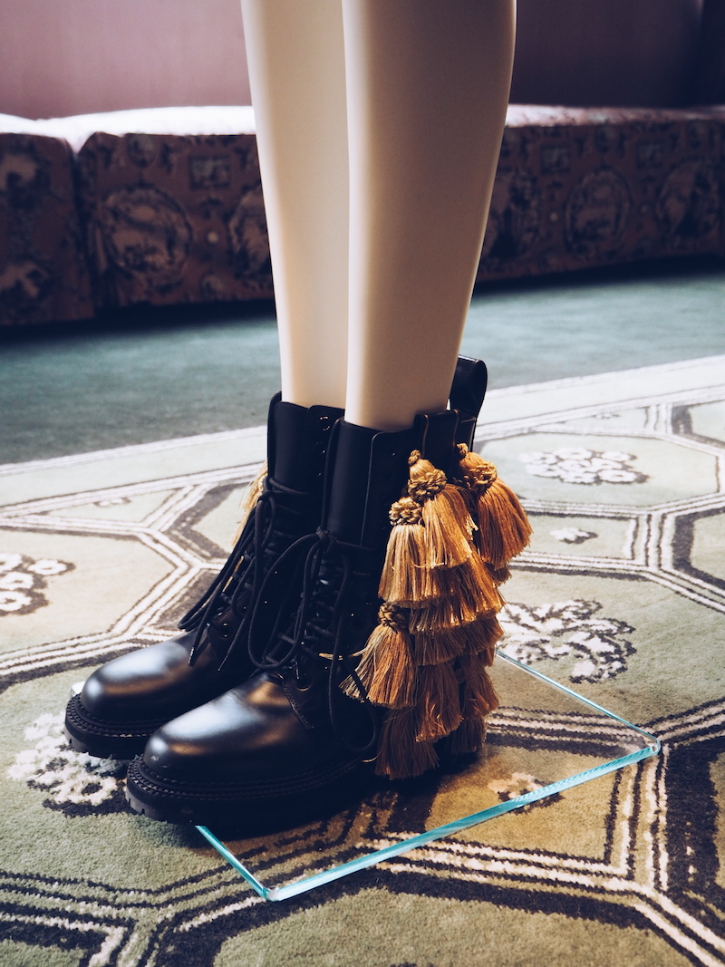 Burberry September 2016 collection Dr Marten boots with tassels