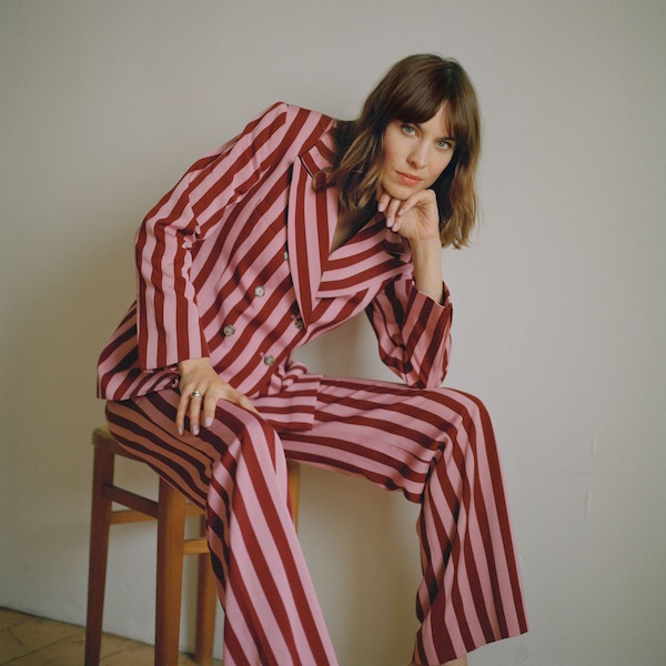 Alexa Chung striped double-breasted suit