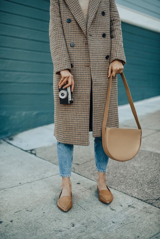 double breasted check tweed coat