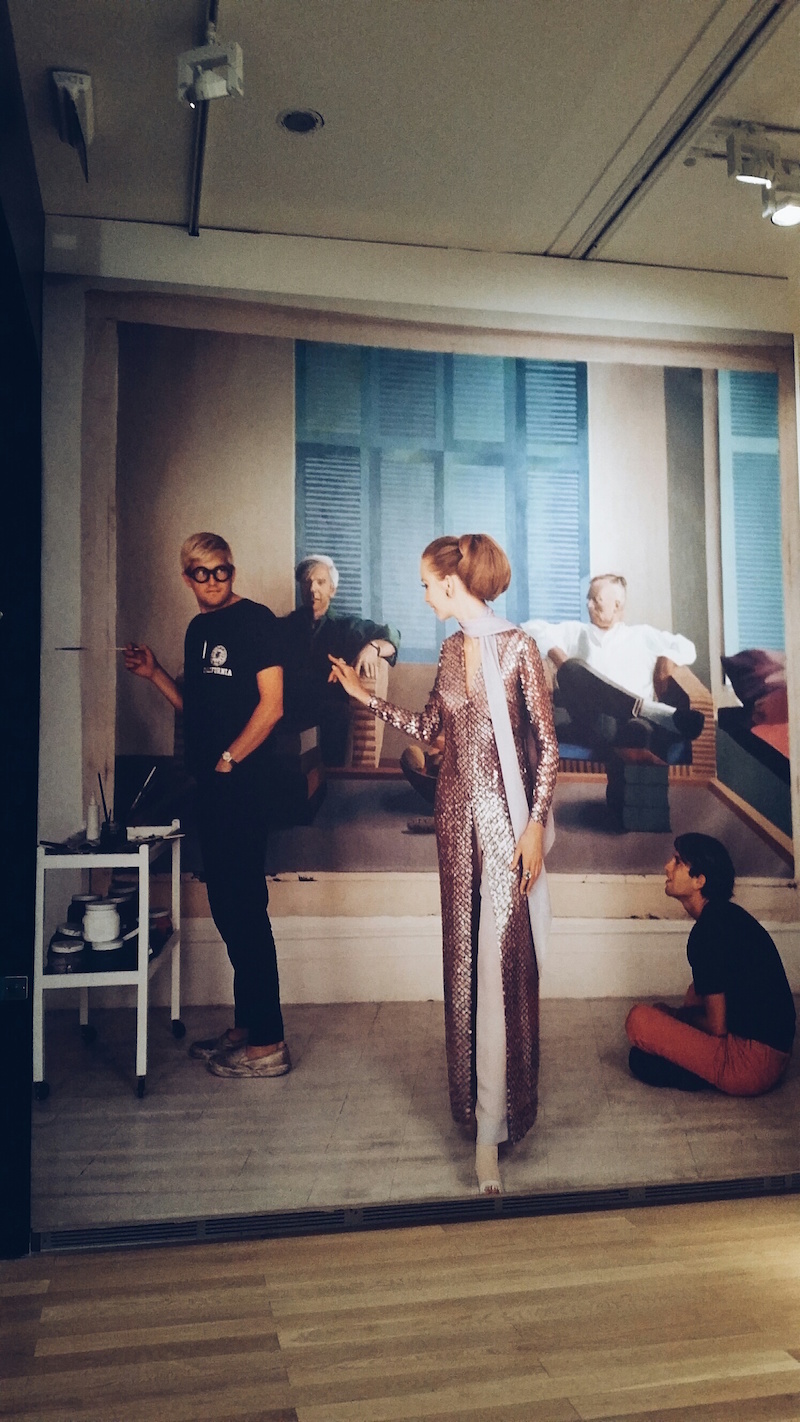 David Hockney in his studio at the Vogue 100 exhibition at The National Portrait Gallery