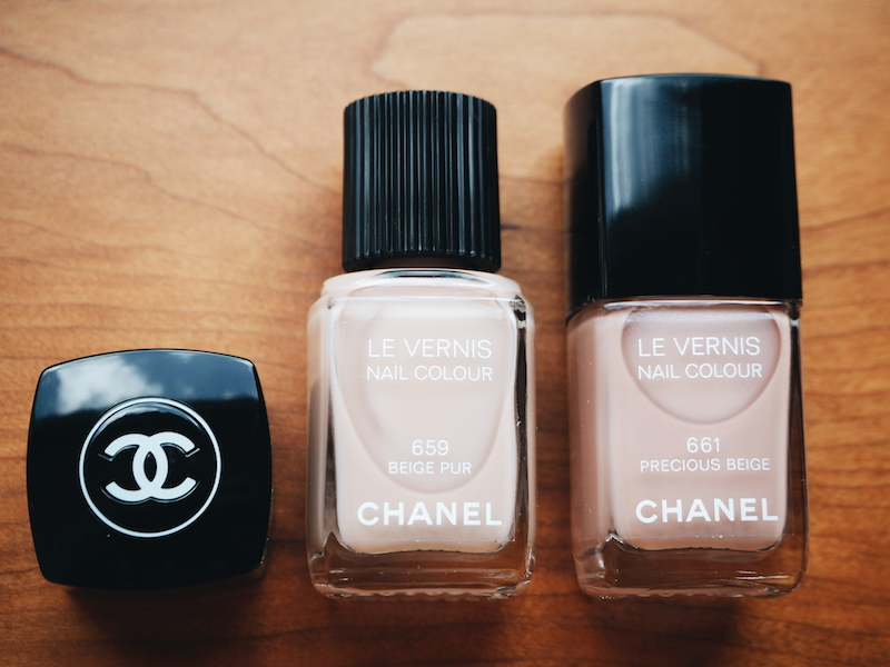 5 Chanel Les Beiges 2015 collection nail colours in Beige Pur and Precious Beige