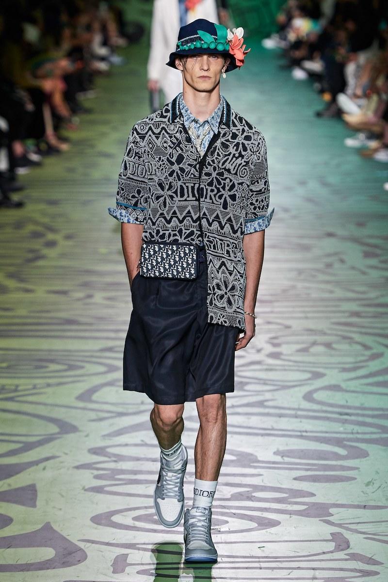 Dior Shawn Stussy pre fall 2020 hand beaded camp shirt Vogue Runway