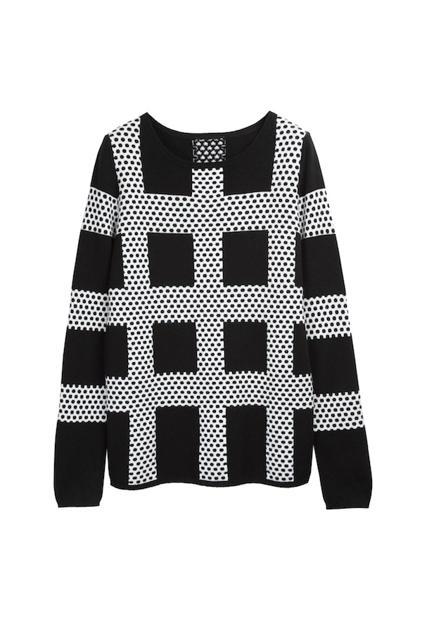 5 Polka square intarsia sweater in black:ecru – Chinti and Parker meets Patternity - £420