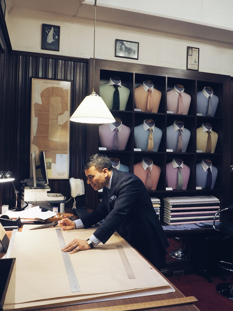 Turnbull and Asser Bespoke store Bury Street London collar shapes