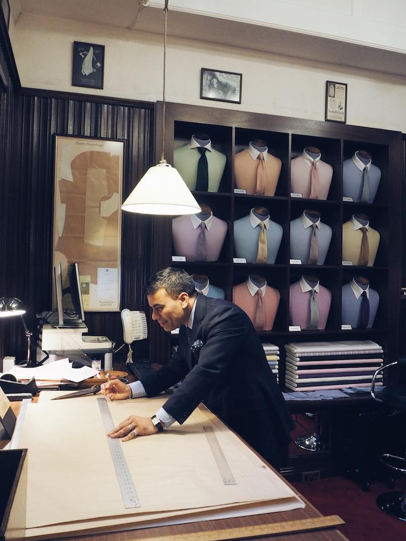 Turnbull and Asser Bespoke store Bury Street London collar shapes
