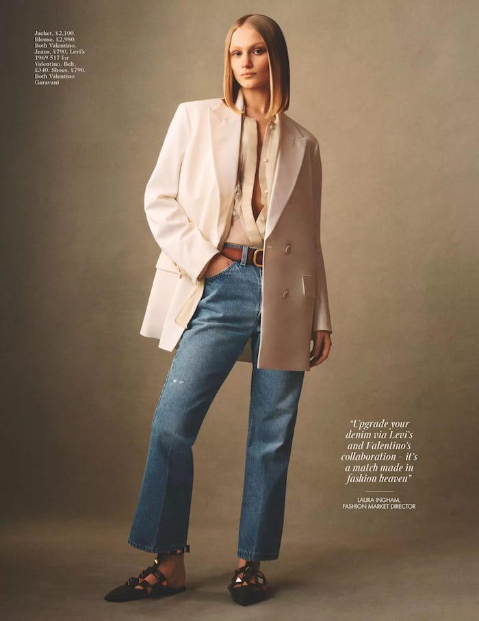 Vogue - blazer and jeans outfit by Scott Trindle