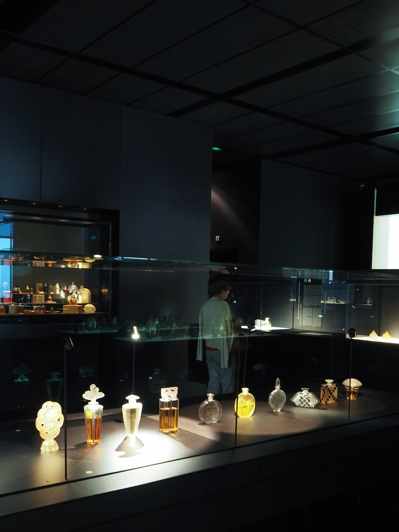 250 Lalique perfume bottles on display at the Lalique Museum in Alsace