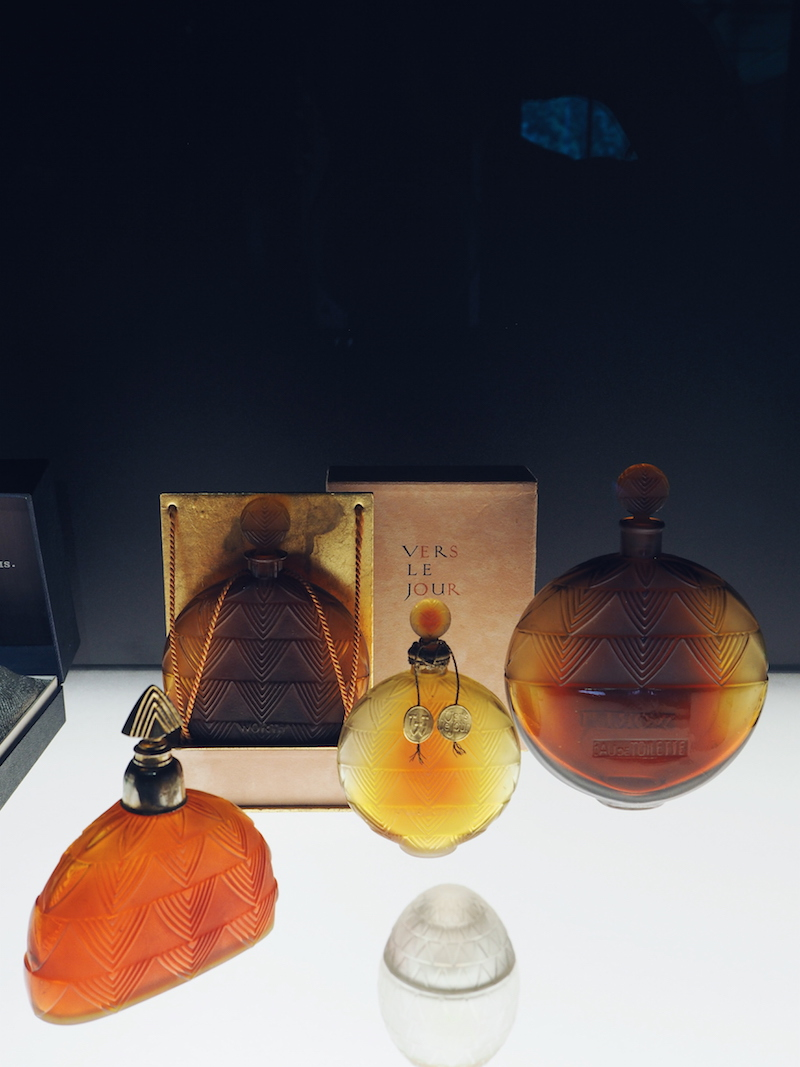 Lalique perfume bottles on display at the Lalique Museum in Alsace