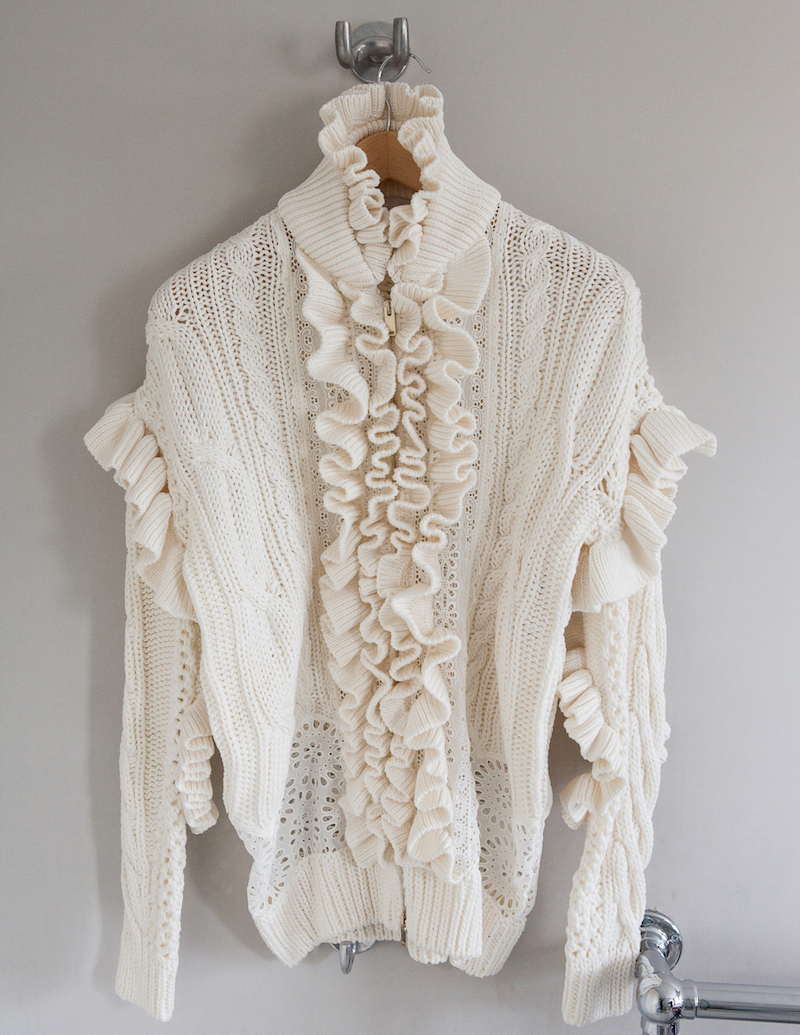 Stella McCartney Multi-knit and broderie-anglaise cardigan