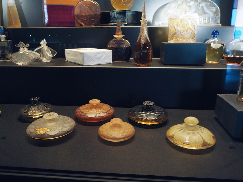oriinal Lalique perfume bottles on display at the Lalique Museum in Alsace