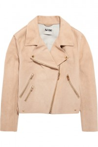 Acne peach suede biker jacket ss12