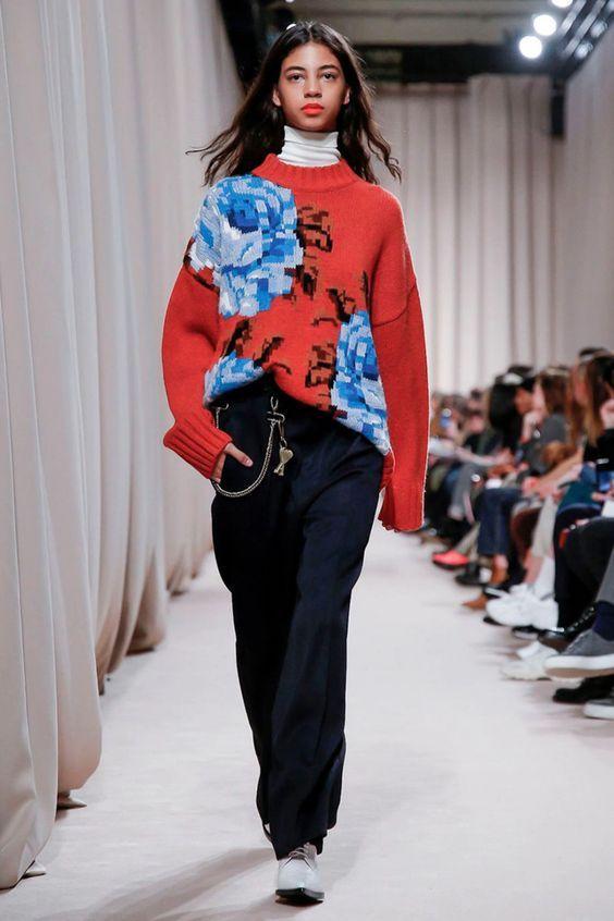 Ami Paris Aw19 Women's Oversize Flowers Sweater