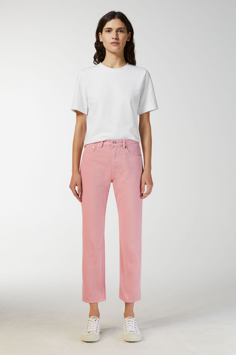 Arket cropped overdyed pink jeans