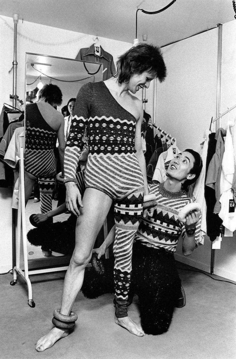 David Bowie with Kansai Yamamoto 1973