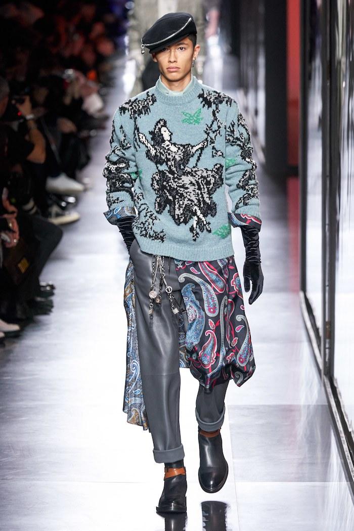 Dior men winter 2020 toile de jouy sweater