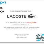 Join me at Lacoste for Vogue Fashion's Night Out… plus my pick of the best of the rest