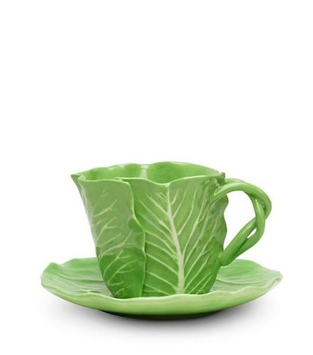 Dodie Thayer for Tory Burch lettuce ware cup and saucer set of two