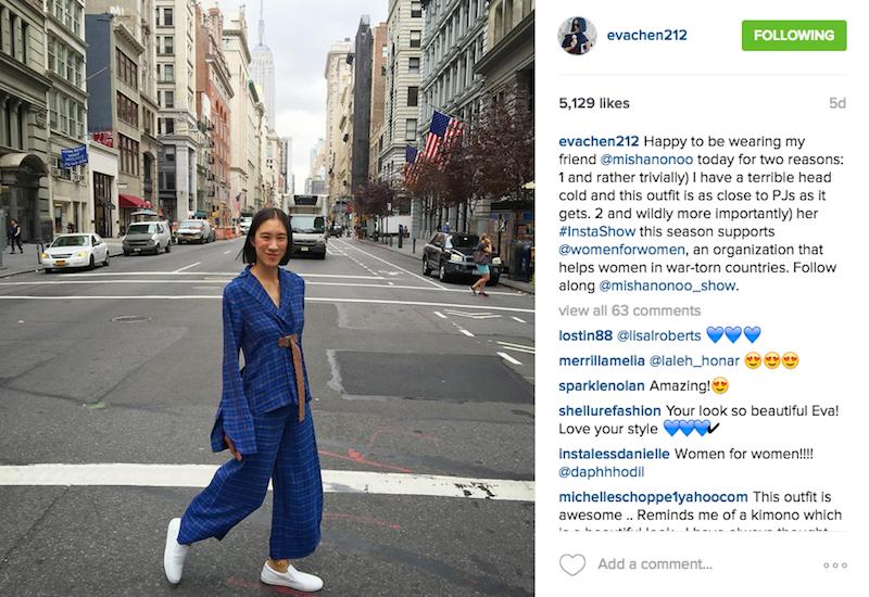 Eva Chen supporting Micha Nonoo on Instagram
