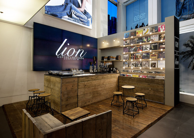 Gap Lion coffee + Records shop in oxford street