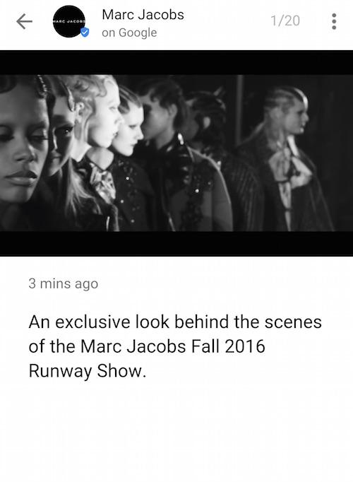 New York Fashion Week Google Marc Jacobs film
