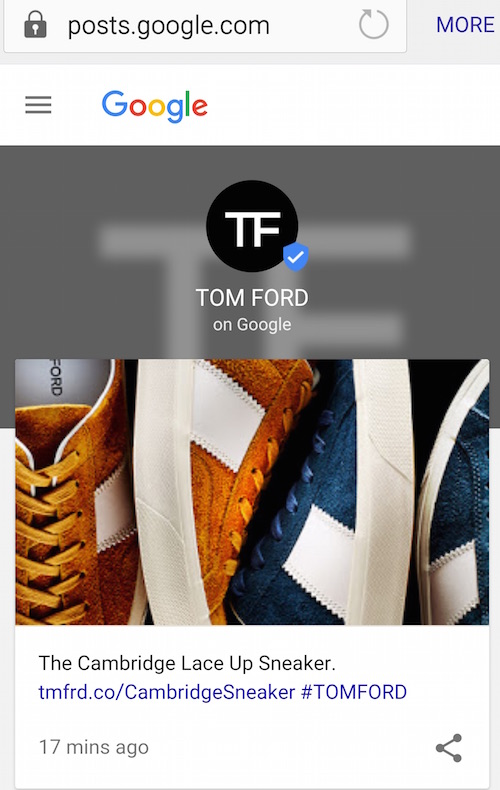 New York Fashion Week Google Tom Ford shoppable content