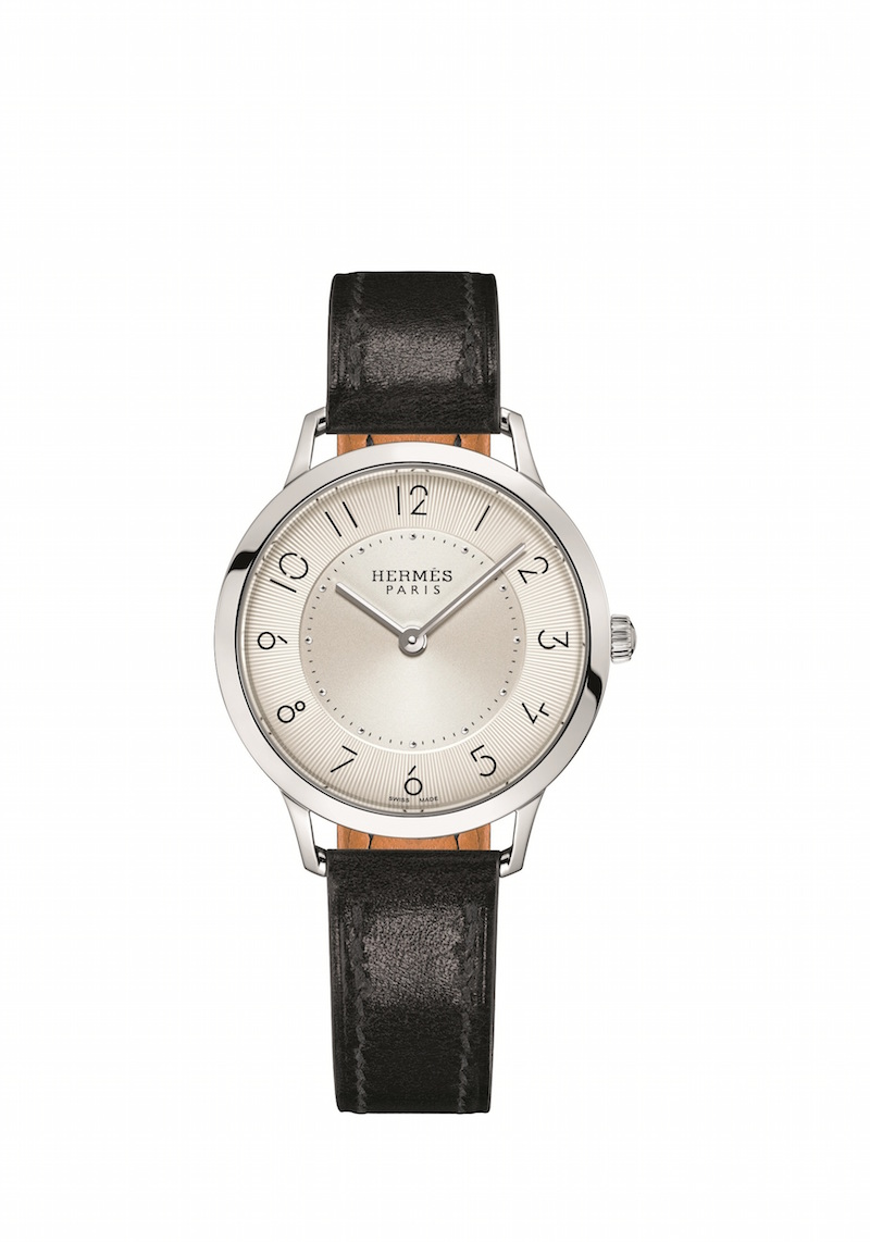 Hermes AW15 Slim d'Hermes 32MM in Steel on Black Box Calf