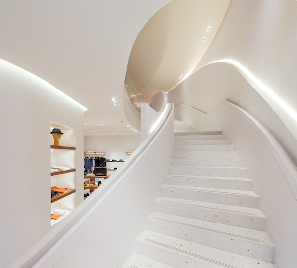 Hermes New Bond Street terazzo Staircase embedded with crystals and hand polished