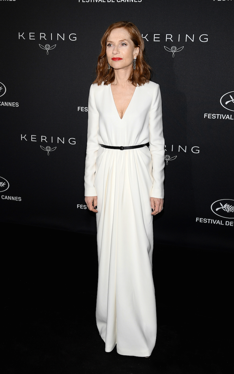 Isabelle Huppert wearing Saint Laurent by Anthony Vacarello at the Kering dinner, Cannes 2017