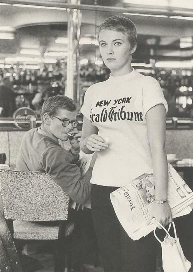 Jean Seberg wearing a New York Herald Tribune T-shirt in Breathless movie