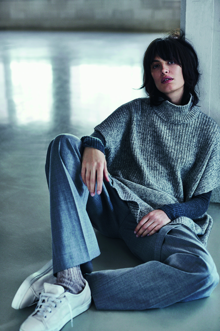JIGSAW AW15 melange knit tabard £129 cashmere cloud sweater £98 wool flannel slouch trousers £120 leather trainers £98