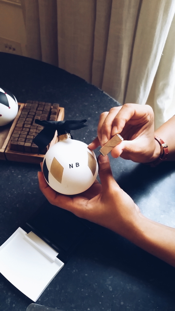 Jo Malone Christmas 2016 collection personalised baubles with hand stamped initials