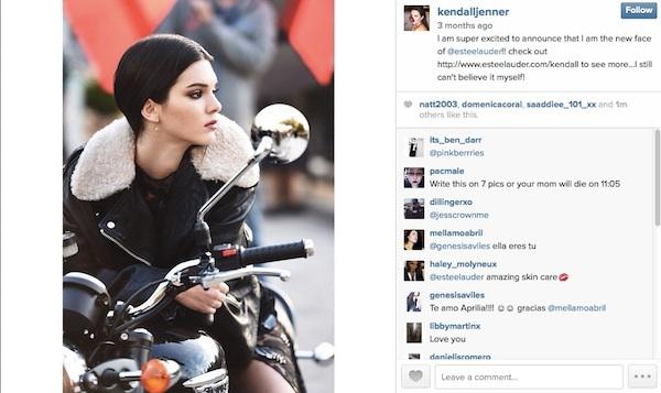 Kendall Jenner Estee Lauder Instagram