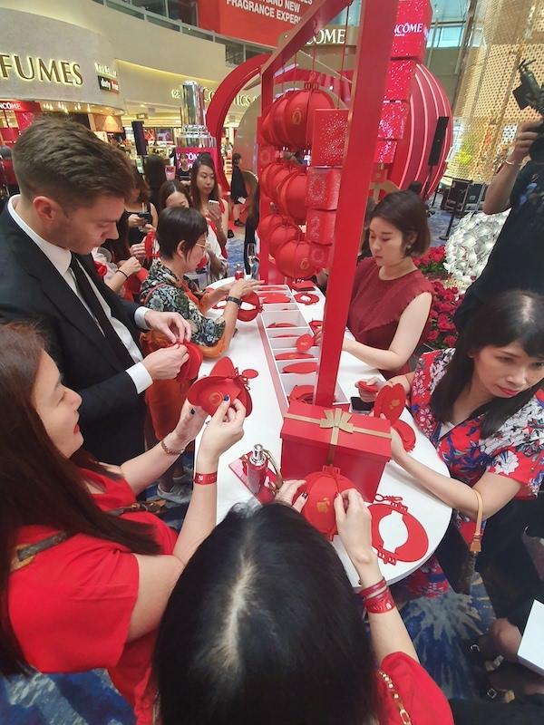 Lancome Chinese New Year lantern making at Singapore Changi Airport