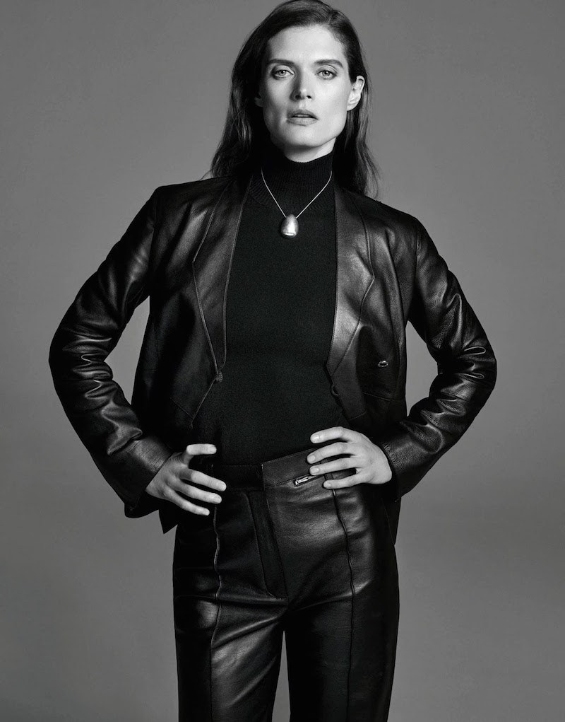Leather trouser suit in Porter Magazine. Photography by Alexandra Nataf, styling by Morgan Pilcher