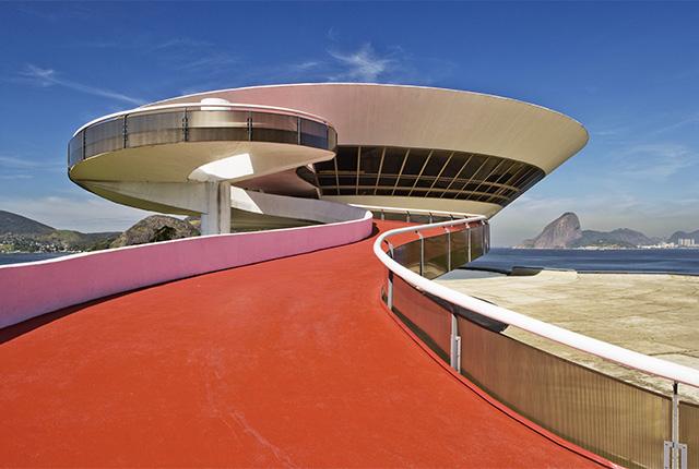 Louis Vuitton cruise show 2017 staged on the ramp to the Niteroi Museum in Rio de Janeiro, Brazil