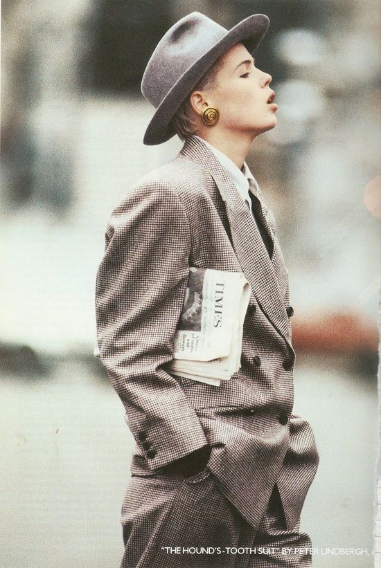 Margaret Howell check suit by Peter Lindbergh for Vogue, 1986