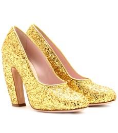 Miu Miu gold glitter heels