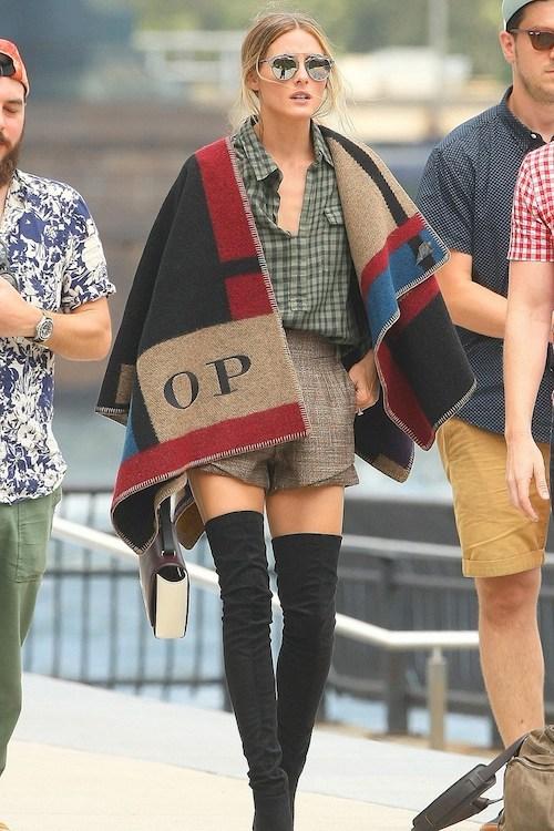 Olivia Palermo wears Burberry Prorsum monogrammed blanket poncho