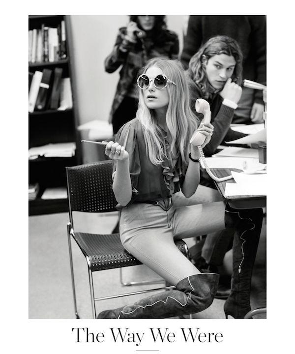 Porter Magazine styling julia Von Boehm model dree hemmingway as gloria steinem