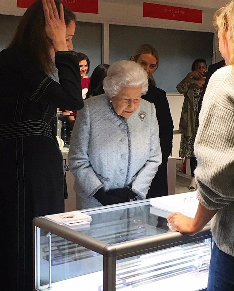 Queen Elizabeth II attends London Fashion week Designer showrooms 2018