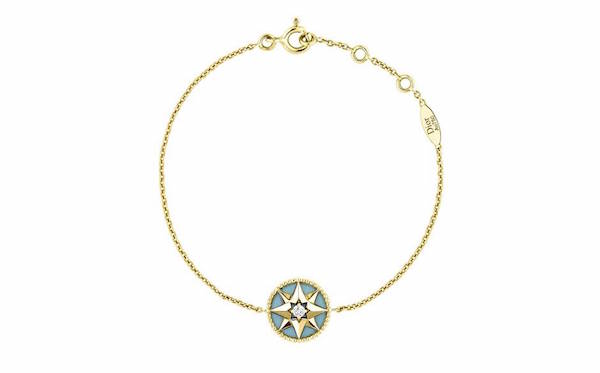 Dior ROSE DES VENTS BRACELET yellow gold with diamonds and turquoise. £1,150 jpg