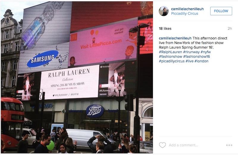 Ralph Lauren Picadilly Periscope Fashion Week