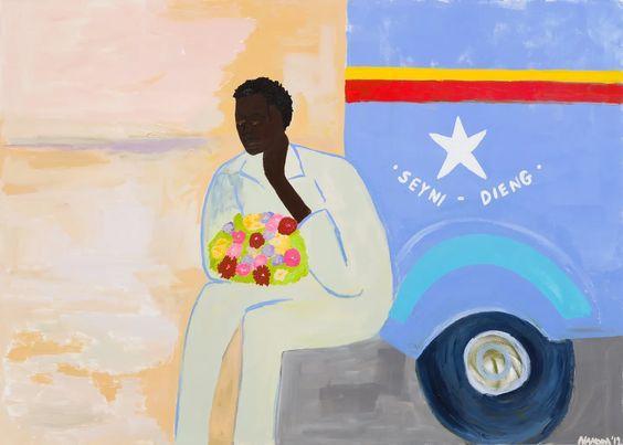 Sad Man with Flowers by Cassi Namoda