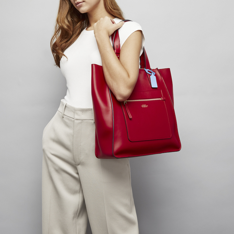 Smythson Bond Collection Red Maxi Tote