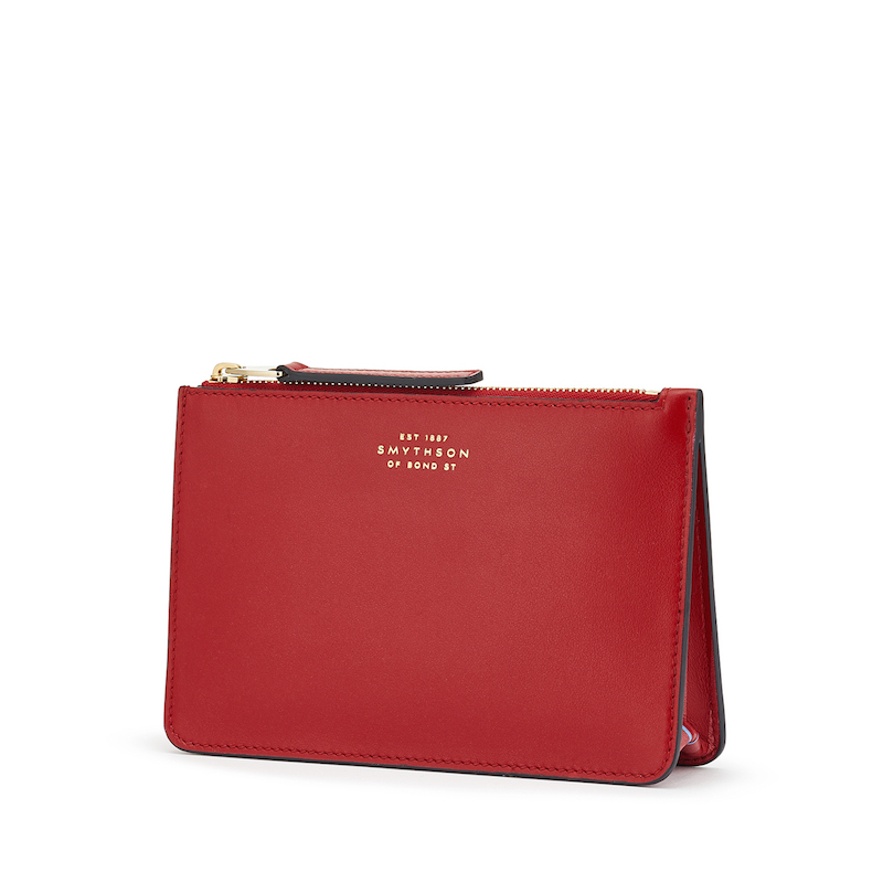 Smythson Bond Collection Red small pouch